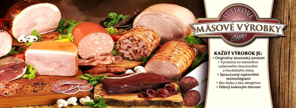 Šulíkové mäsové výrobky šunky, salámy, zabíjačkové špeciality, klobásy